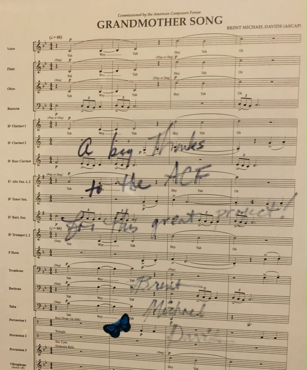 A thank you from Brent Michael Davids on his published score of 'Grandmother Song'